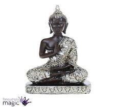 Meditating Sitting Thai Buddha Silver Statue Ornament Figurine Home Garden Gift