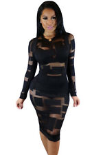New sheer mesh long sleeve bodycon dress club party wear Size UK 8-10