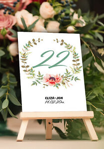 Customized Table Numbers Wedding Parties Floral Design Table Centerpieces 1-50