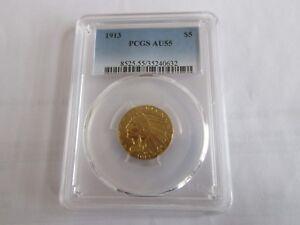 1913 , Indian Gold , Half Eagle , $5 ,  PCGS , AU 55