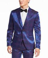 INC Mens Blazer Purple Blue Size Medium M Plaid Printed Shiny Notched $149 #111