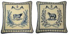 "Pair of Handmade Wool Needlepoint French Country Cow and Sheep Pillow 19""x19"""