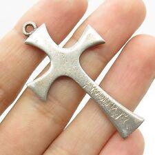 Vtg 925 Sterling Silver Large Religious Cross Charm Pendant