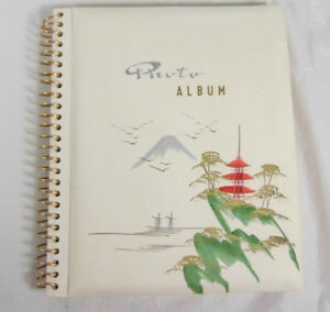 Vintage White Photo Album With Tatami Design On Front Cover