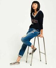 Superdry Womens Harper Boyfriend Badged Jeans Light Blue Size W 28, L 30