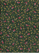 "New Dark Green with Red and Yellow Flowers 100% Cotton Fabric 28"" x 44"" Piece"