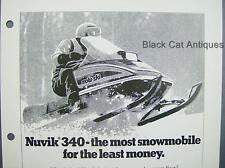 """Orig Vintage 1978 Bombardier """"Nuvik 340"""" Moto-Ski Snowmobile Dealer Sales Sheet"""
