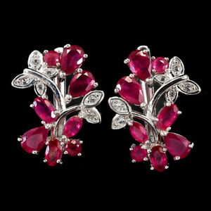 Pear Red Ruby 6x4mm Cz 14K White Gold Plate 925 Sterling Silver Earrings