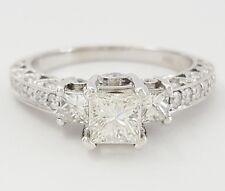 1.06 ct 14K White Gold Princess & Round Brilliant Cut Diamond Engagement Ring