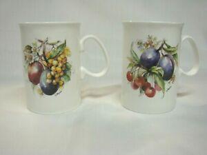 2 ROYAL COURT FINE BONE CHINA ENGLAND MUGS / TEA CUPS WITH FRUIT DESIGN