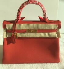 NEW HERMES KELLY II RETOURNE 35 CM VEAU TOGO BAG IN GERANIUM W GOLD HARDWARE