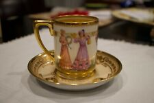 Antique LAMM Dresden Saxony Demitasse Cup & Saucer Hand Painted*****