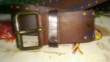 Just Cavalli unisex Belt BrownLeather Buckle Sz US 34 IT 85