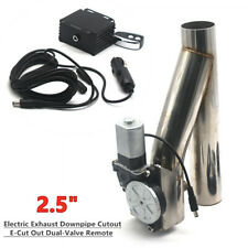 "2.5"" Electric Exhaust Downpipe Cutout E-Cut Out Dual-Valve Wireless Remote Parts"