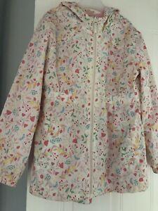 Girls Rain Jacket Age 8-9 Years Cream With Pink Flowers
