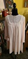 Vintage ShadowLine Gown Pink Full Length Nightgown Lace Neckline Pocket Sz.S