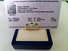 Paraiba Tormalina e Diamante anello oro 18ct. NUOVO!