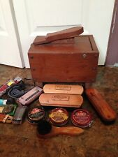Vintage old Wooden wood Shoe Shine Stool bench box set polish brush kit laces