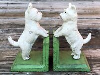 Cast Iron Pair of White Scottish Terrier Dog Vintage-Style Heavy Bookends