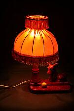 Lampe de chevet en céramique rouge avec chien Année 50/60