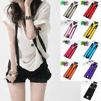 Fashion Girls Unisex Elastic Y-Shape Braces Mens Adjustable Clip-on SuspendersKJ