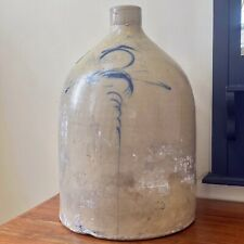 "Antique 5 Gallon Salt Glazed Cobalt Bee Sting Tornado Jug Turkey Drippings 18""H"