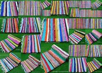 Bohemian Indian Handmade Rugs Hand Woven Mat Carpet Rug Floor Runner Chindi Dari