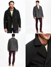NEW OLD NAVY Men's Wool Blend Peacoat Jacket Black - M, MT, L, XL