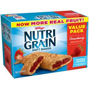 (2 pack) Kellogg's Nutri-Grain Value Pack, Soft Baked Strawberry , 1.3 oz, 16 ct