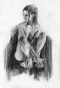 original drawing А4 25PY samovar Charcoal female nude Signed 2020