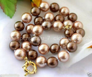 8mm 10mm 12mm Coffee Champagne South Sea Shell Pearl Round Beads Necklace 18''