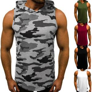 Men's Vest Hoodie Bodybuilding Tank Top Muscle Hooded Shirt Gym Sleeveless Top