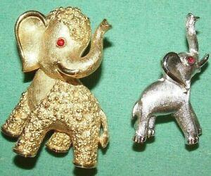 ADORABLE RED EYED CROWN TRIFARI ELEPHANT PIN LOT-PRISTINE NO WEAR-FUN!!