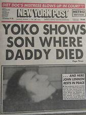 JOHN LENNON Death NEW YORK POST Dec 1980 Complete NEWSPAPER Beatles  NY Yankees