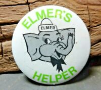 Elmer's safety elephant helper lapel BUTTON pin MADE IN CANADA Vintage Retro