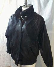Byrnes & Baker Black Leather Leopard Print Biker Bomber Jacket
