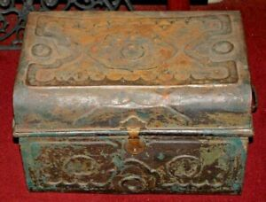 Antique Victorian Metal Tin Treasure Chest Storage Trunk Raised Designs