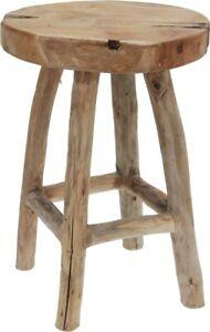 Teakholz Hocker Sitzhocker rund Ø30x42 cm Beistelltisch massiv Shabby Vintage