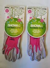 2 PINK Medium Showa 370 FLOREO Unisex Lightweight Gardening Gloves Nitrile Palm