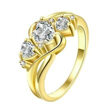 Stunning 18K Yellow Gold GP Clear Crystal Wedding Engagement Band Rings Size 7