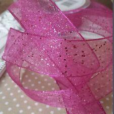 Berisfords Wired Edge 15mm Random Glitter Ribbon 20m Roll Shocking Pink