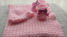 CROCHET/KNITTED PATTERN FOR BABY SHAWL V-ST IN ARAN YARN ,BABY BOOTIES and  HAT