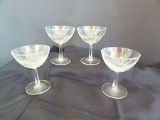 Vintage 4 Stemmed Clear Glass 1950's Champagne Glasses Star Design Inside