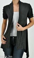 Gray Drape Side Artsy Short Sleeve Cover-Up Cardigan Top Plus