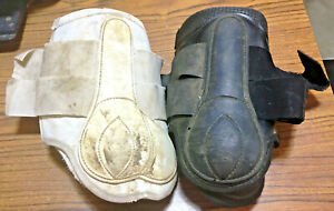Used 2 Pair Brushing Boots Splint Tendon Black White Size L Sport Horse Tack NR