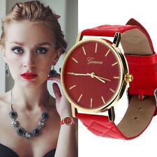 Modisch Armbanduhren Damen Uhr Analog Rund Leder Quartzuhr Wrist Watch