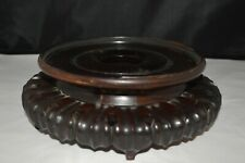 Antique Chinese carved wood stand with lotus petal decoration inner circle 16.8