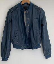 GUESS Stunning Deep Green Blue Lamb Leather Jacket Size XS 6 8 AU