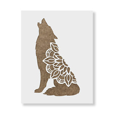 Mandala Wolf Stencil - Reusable Mylar Stencils for Painting