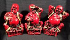 1965 Virtue Buddhas - See Hear Speak No Evil - Universal Statuary Corp. - Red